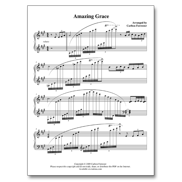Amazing Grace - Sheet Music - Arrangement by Carlton Forrester
