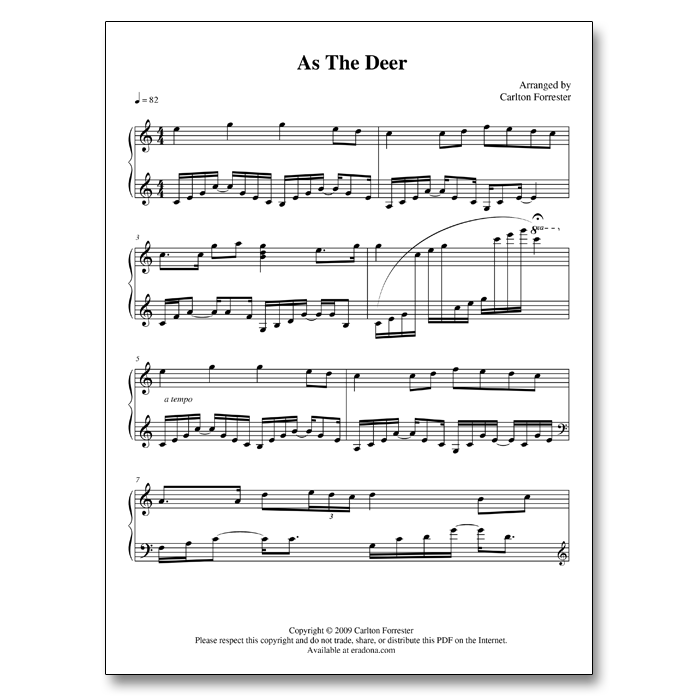 As The Deer - Sheet Music - Arrangement by Carlton Forrester