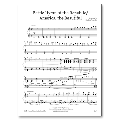 Battle Hymn of the Republic / America the Beautiful - Sheet Music - Arrangement by Carlton Forrester