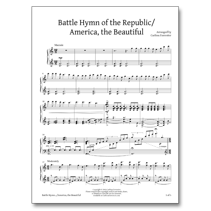 Battle Hymn of the Republic / America the Beautiful - Sheet Music - Arrangement by Carlton Forrester
