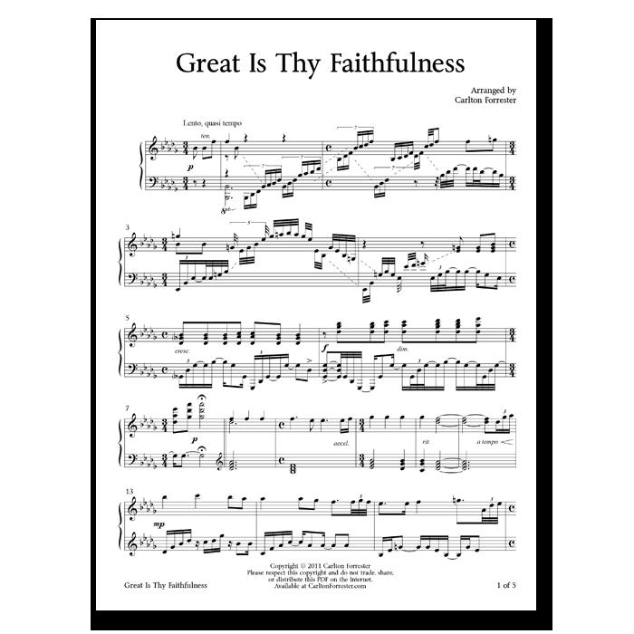 Great Is Thy Faithfulness - Sheet Music - Arrangement by Carlton Forrester