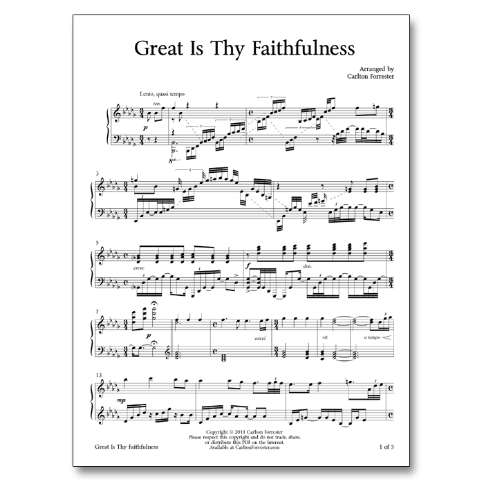 Great Is Thy Faithfulness - Sheet Music - Arrangement by Carlton Forrester