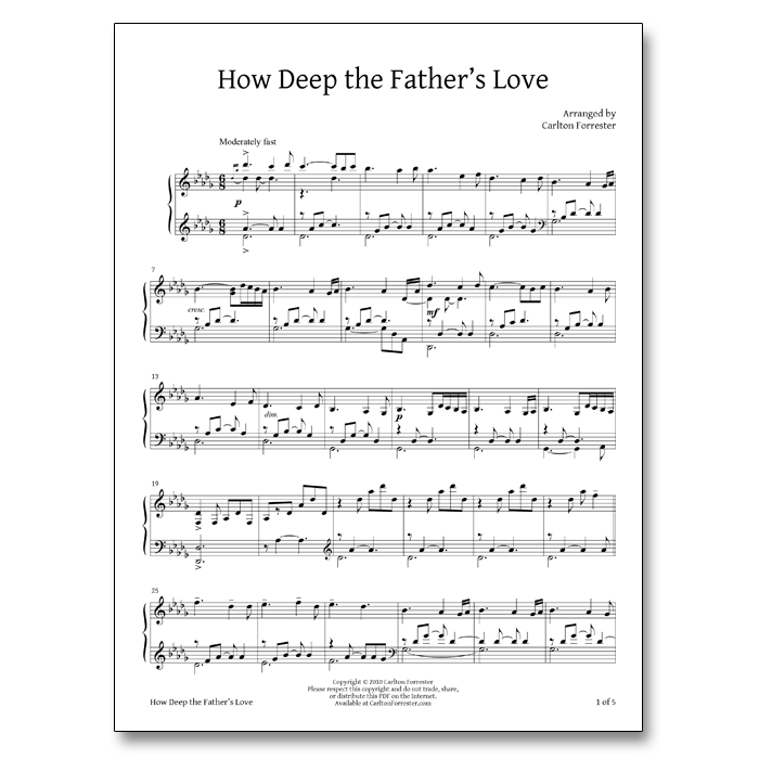 How Deep Are Bathroom Cabinets: How Deep The Father's Love For Us – Sheet Music