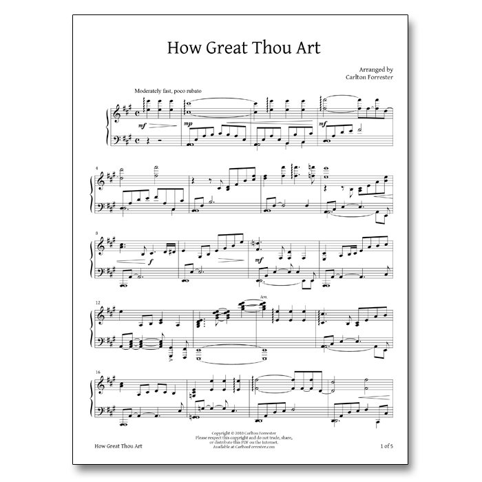 How Great Thou Art - Sheet Music - Arrangement by Carlton Forrester