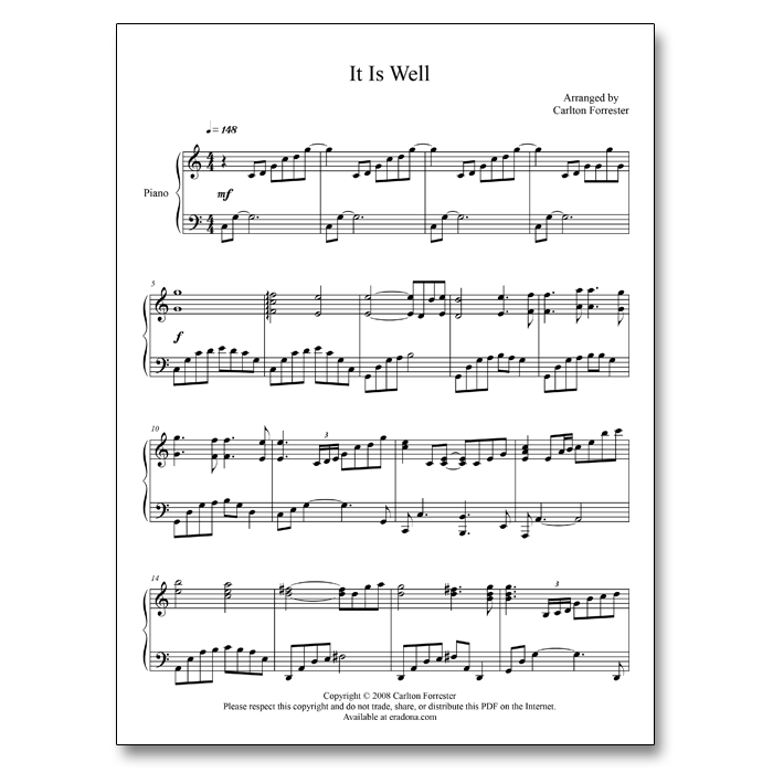 It Is Well - Sheet Music - Arrange by Carlton Forrester