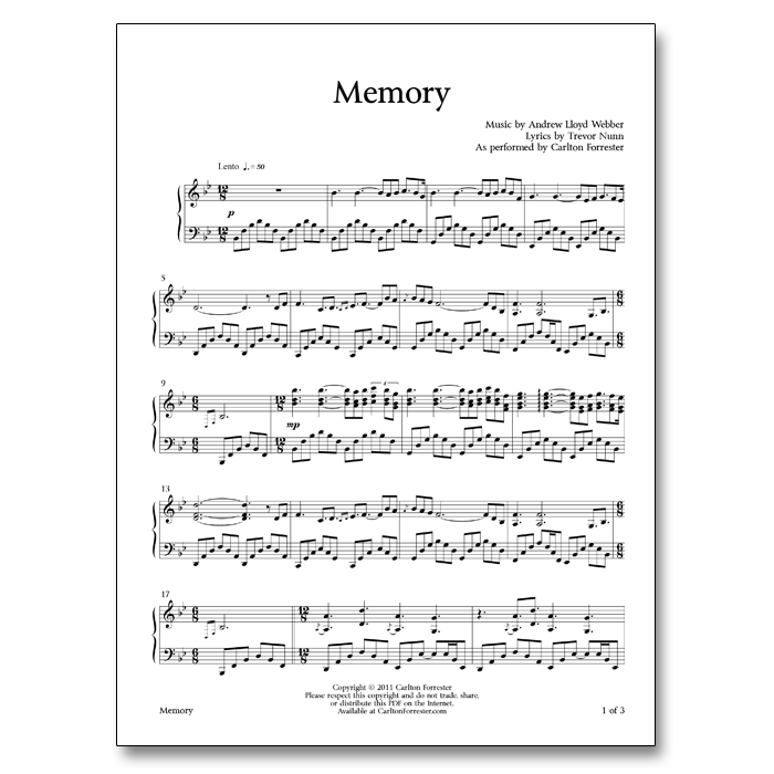 Memory - Sheet Music - Arrangement by Carlton Forrester