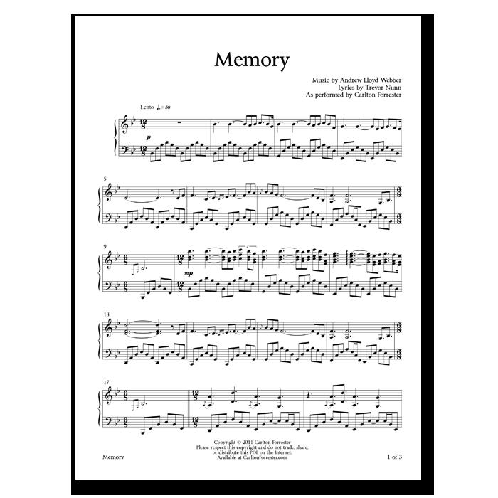 Memory - Sheet Music - Arrangement by Carlton Forrester