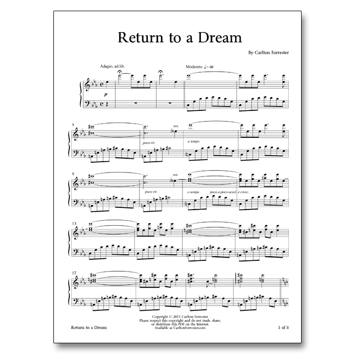 Return to a Dream - Sheet Music - Arrangement by Carlton Forrester