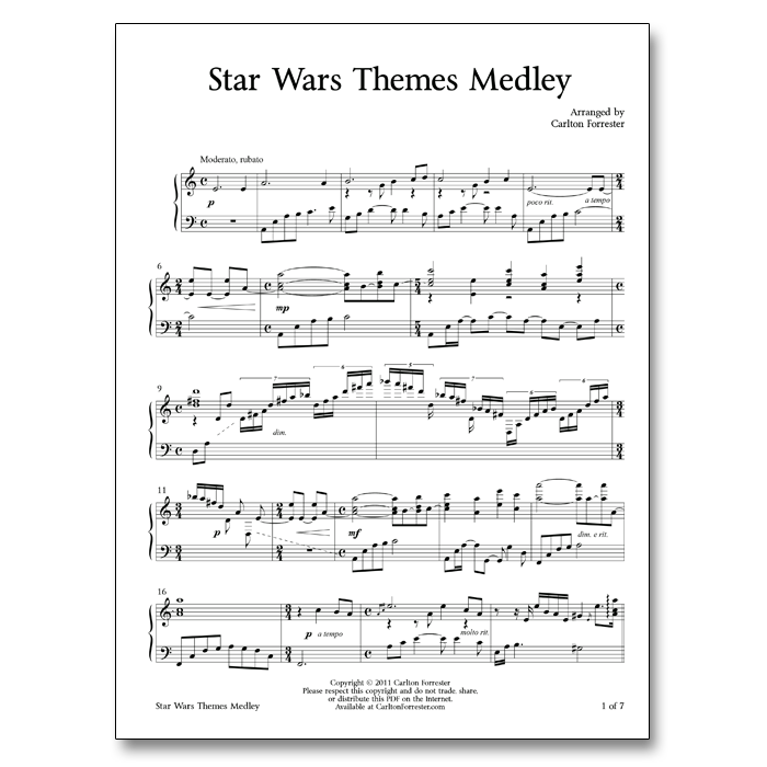 Star Wars Themes Medley - Sheet Music - Arrangement by Carlton Forrester