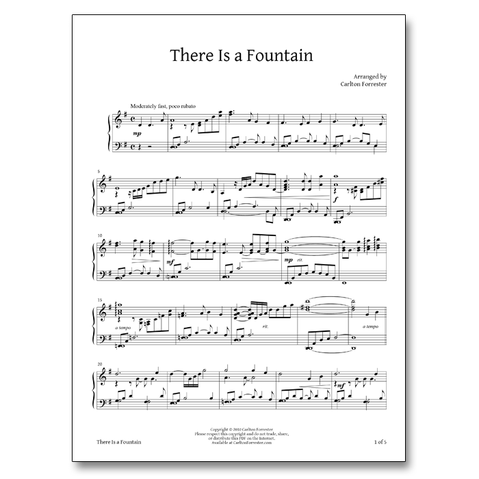 All Music Chords his eye is on the sparrow music sheet : There is a Fountain – Sheet Music | Carlton Forrester Music