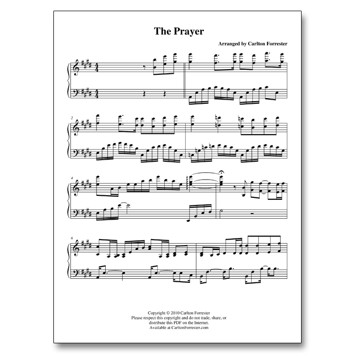 The Prayer - Sheet Music - Arrangement by Carlton Forrester