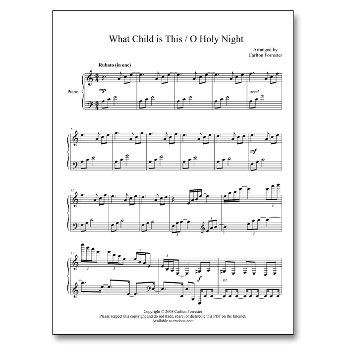 What Child is This / O Holy Night - Sheet Music - Arrangement by Carlton Forrester